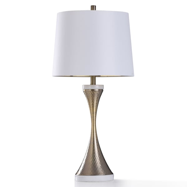 Antiqued Brass Metal With Natural Marble Base Table Lamp