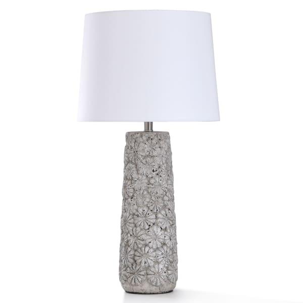 Arther Stone Light Gray Concrete Flower Motif Table Lamp