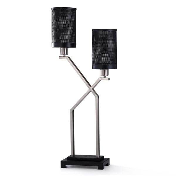 Black and Brushed Steel Metal Desk Lamp