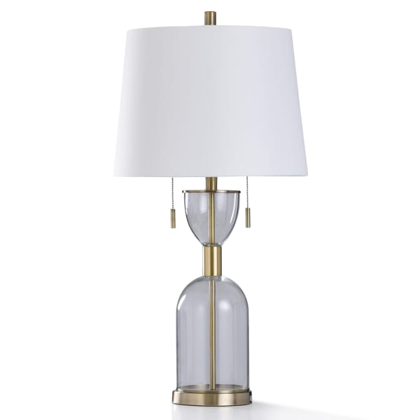 Brass Metal and Clear Glass Base Table Lamp