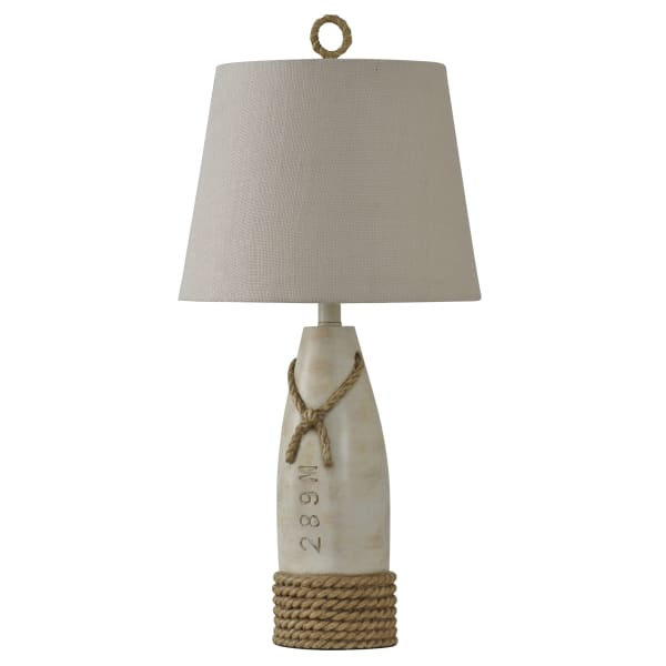 Buoy Distressed White Table Lamp