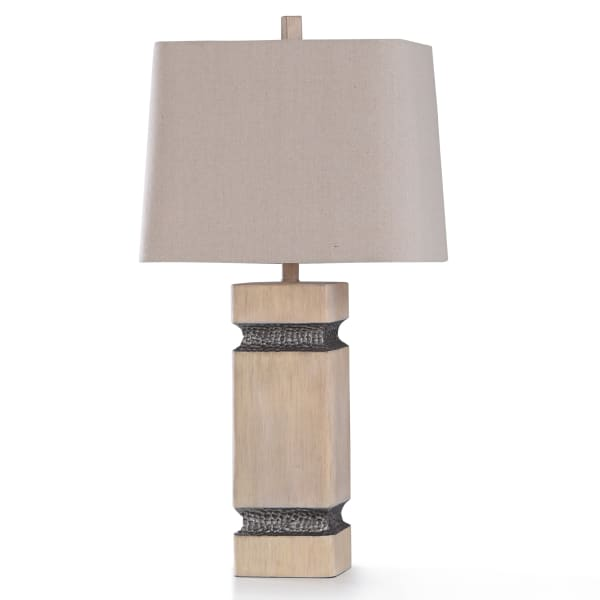 Haverhill Painted Ivory Resin With Hammered Lead Metal Colored Resin Table Lamp