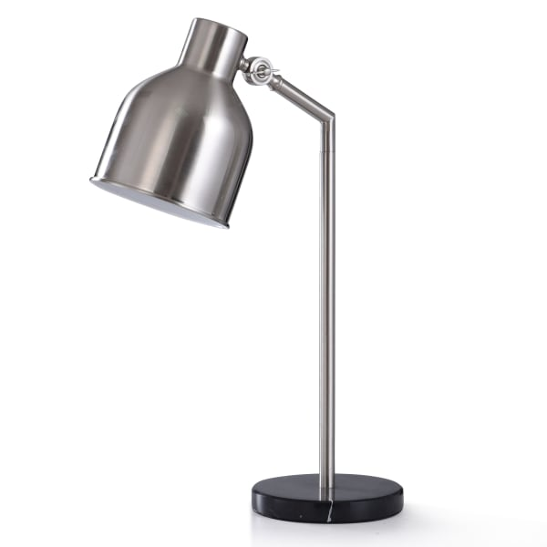 Irby Brushed Nickel Metal With Black Marble Desk Lamp