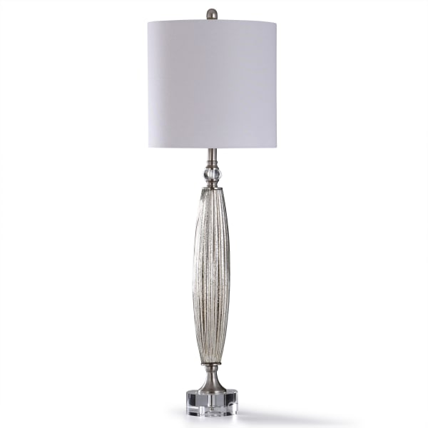 Mercury Glass and Clear Crystal Table Lamp