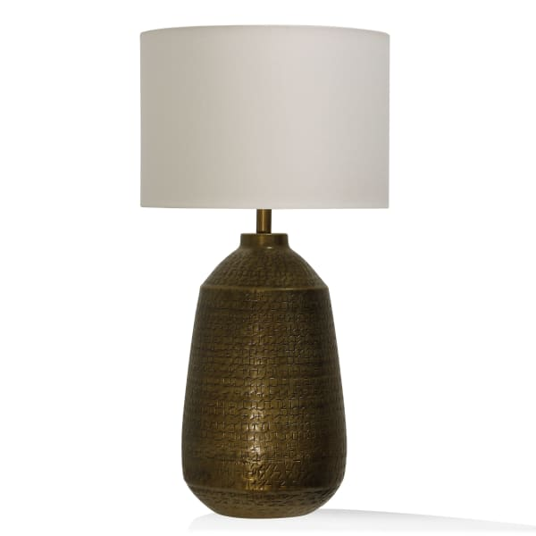 Textured Brushed Antique Brass Metal Table Lamp