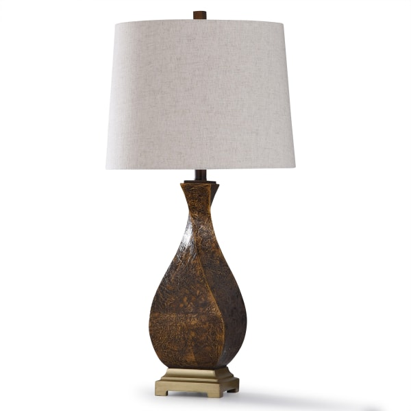 Textured Dark Brown Resin and Antique Brass Metal Table Lamp