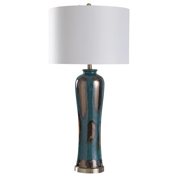 Angel Teal, Multi-Copper Tones, Brushed Steel Table Lamp