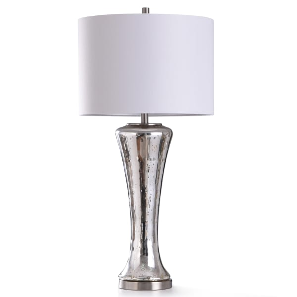 Antique Silver Reflective Glass With Brushed Steel Metal Table Lamp