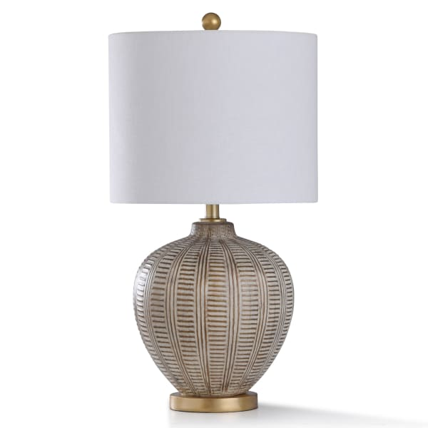 Baffo Gold & Cream Resin With Antiqued Brass Metal Table Lamp