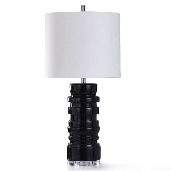 Black Ceramic With Clear Acrylic Table Lamp