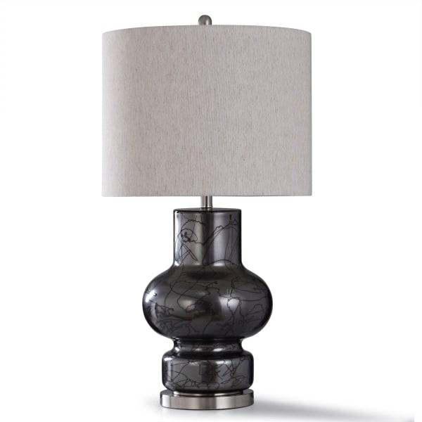 Bronze and Swirled Dark Glass Table Lamp