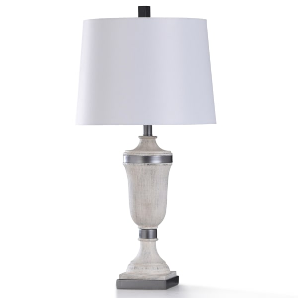Cinder Ford Antiqued White Painted Resin With Brushed Steel Metal Table Lamp