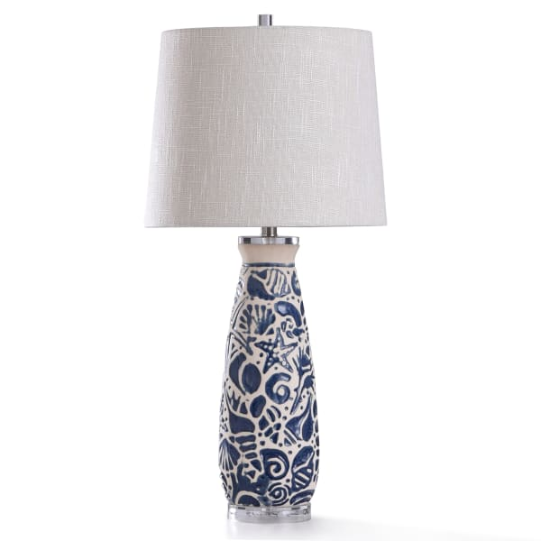 Coastal Motif Blue and Ivory Ceramic With Clear Acrylic Base Table Lamp