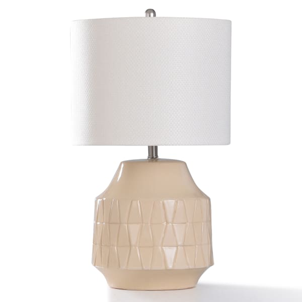 Colehill Ivory Ceramic and Brushed Nickel Metal Table Lamp