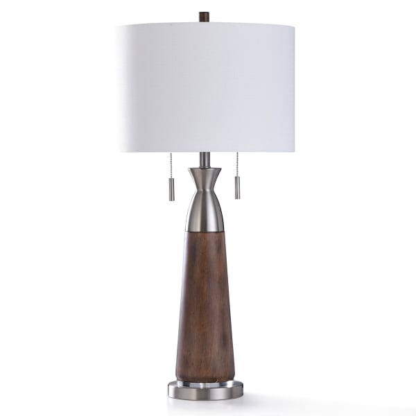 Dark Painted Wood With Brushed Steel Metal and Clear Acrylic Table Lamp
