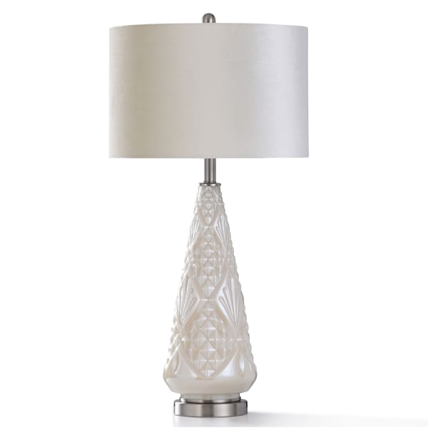 Ivory Pearl Glass In Diamond Motif Design and Brushed Steel Metal Table Lamp