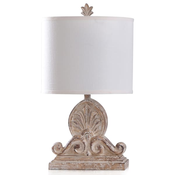 Lucy Weather Taupe with White Specs Table Lamp