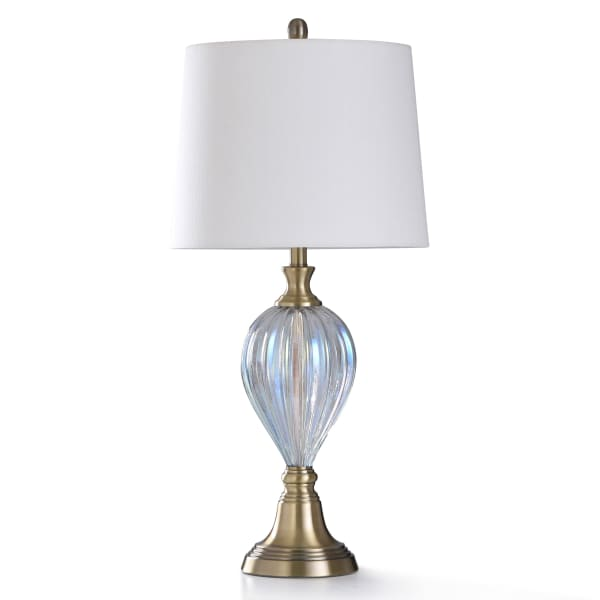 Opulent Pearl Plated Ribbed Glass With Antique Brass Metal Table Lamp