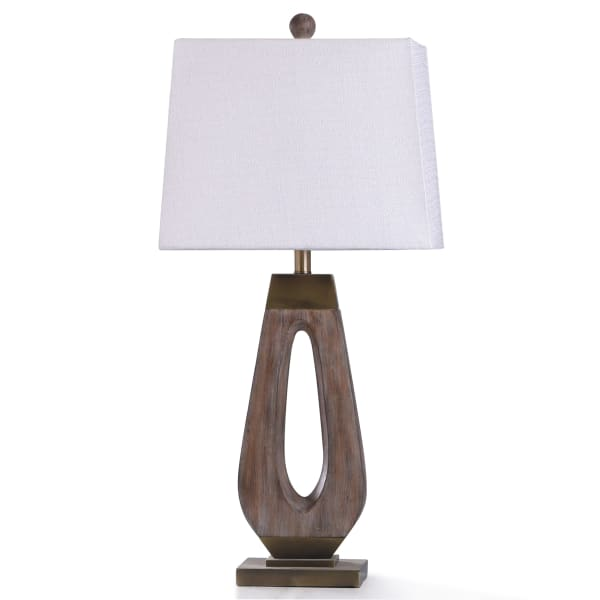 Wood Washed and Antiqued Gold Metal Table Lamp