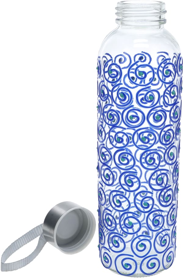 Blue Swirl - Hand Decorated Glass Water Bottle