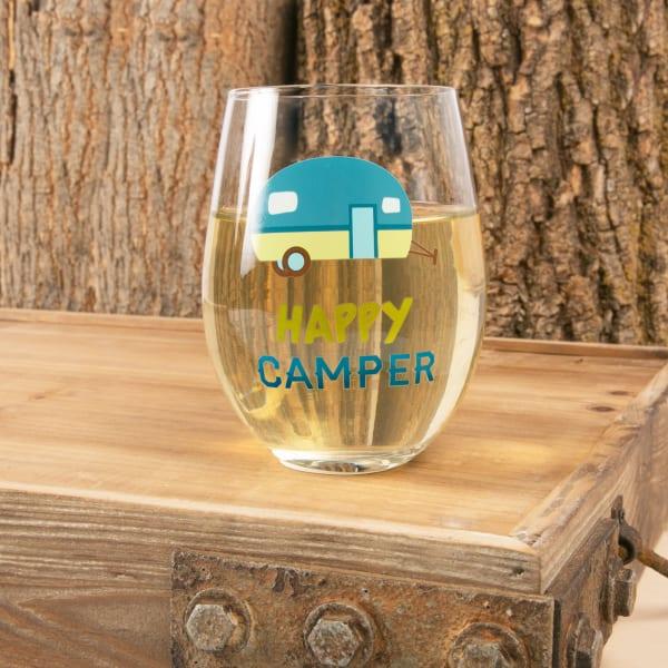 Happy Camper - Stemless Wine Glass