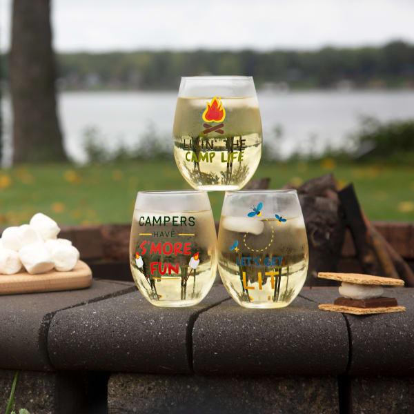 Livin' the Camp Life - Stemless Wine Glass