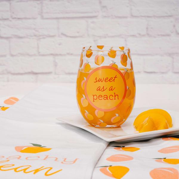Sweet as a Peach - Stemless Wine Glass
