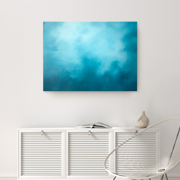 Underwater Clouds XV Teal Modern Coastal Canvas Wall Art