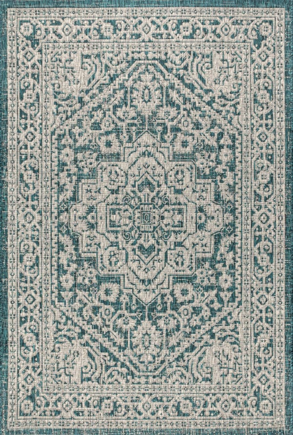 Medallion Textured Weave Indoor/Outdoor  Teal Blue/Gray 5' x 8' Area Rug