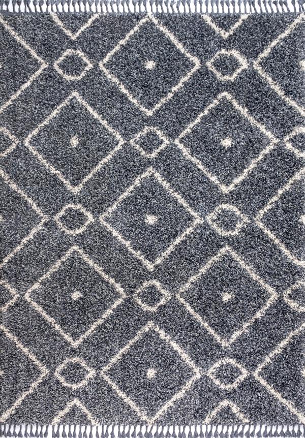 Shag Plush Tassel Moroccan Diamond Denim Blue/Cream Area Rug