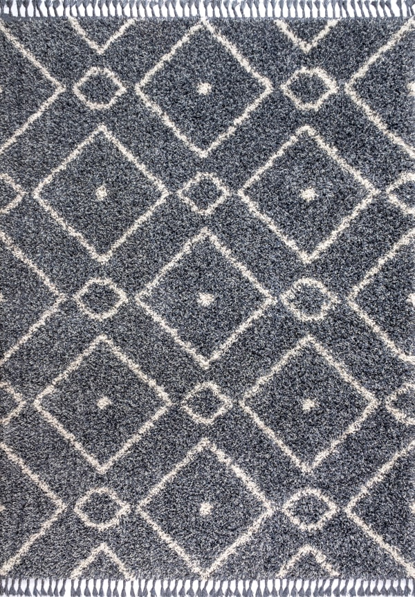 Shag Plush Tassel Moroccan Diamond Denim Blue/Cream 5' x 8' Area Rug