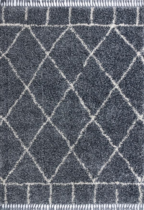 Shag Plush Tassel Moroccan Geometric Trellis Denim Blue/Cream Area Rug