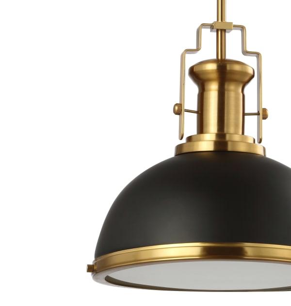 Adjustable Iron/Glass Vintage Classic LED Pendant, Black/Brass Gold
