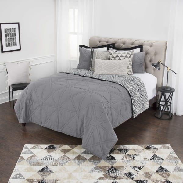 Gray 100% Cotton Solid Geometric 90