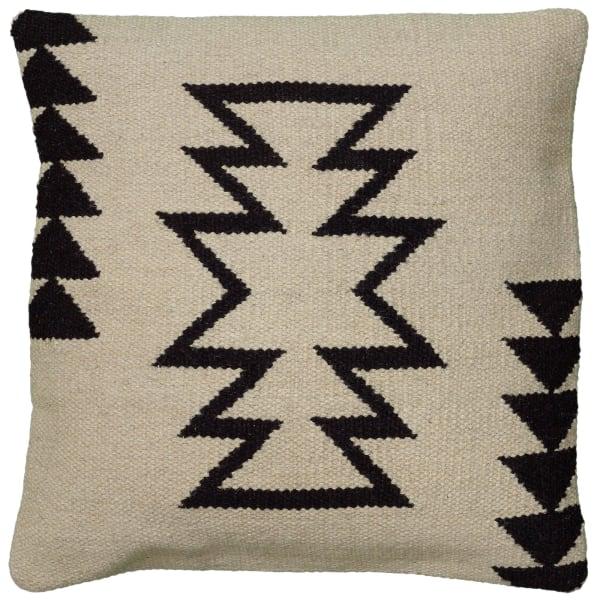 Arrow Motif With Arrow Stripes Beige/Black Filled Pillow