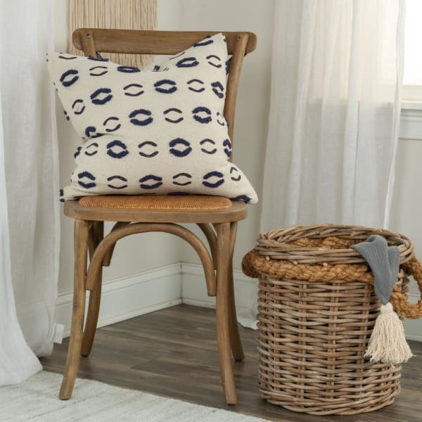 Canvas Organic Pattern Navy/Ivory Pillow Cover