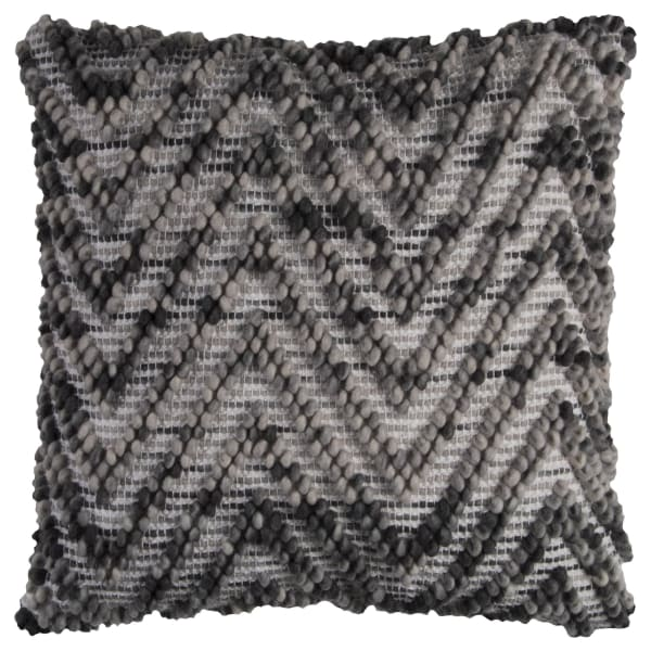 Chevron Woven Gray Filled Pillow