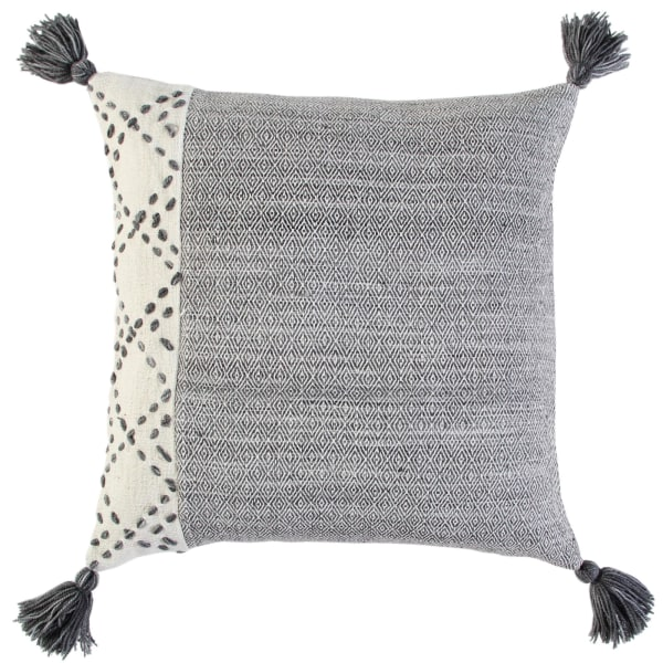 Color Block Tasseled Ivory/Gray Poly Filled Pillow