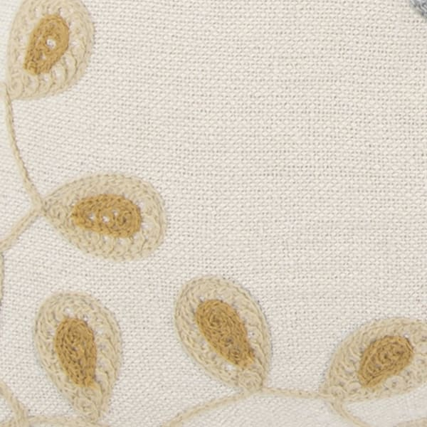 Embroidered Floral Blue/Natural Pillow Cover