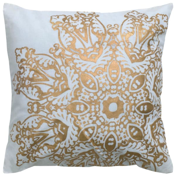 Medallion Foil Print White/Gold Filled Pillow
