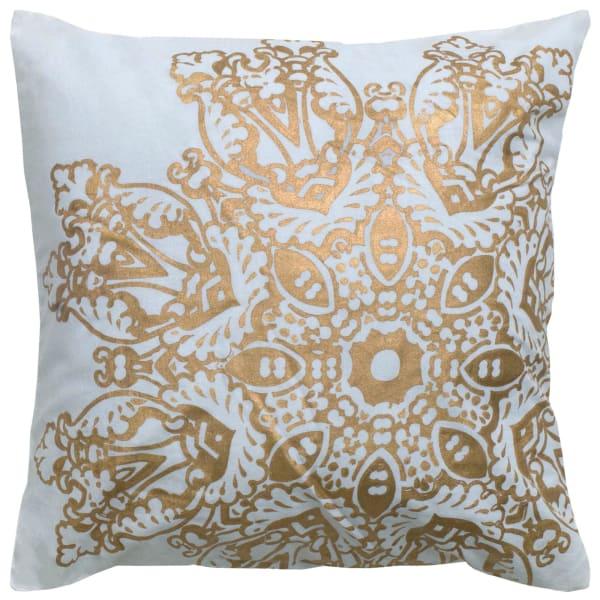 Medallion Foil Print White/Gold Pillow Cover