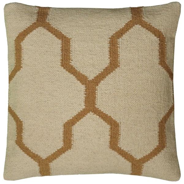 Moroccan Tile Motif Beige Pillow Cover