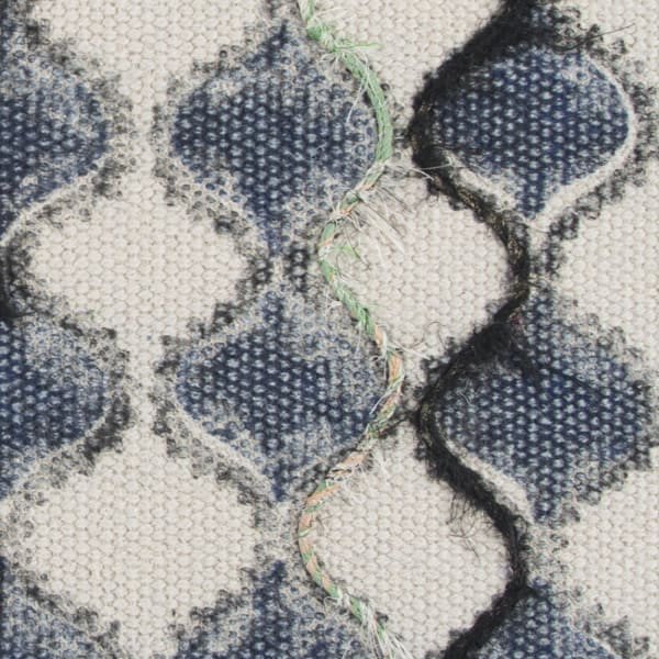 Ogee Patterned Blue/Natural Pillow Cover
