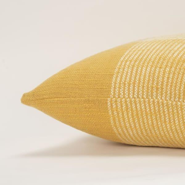 Plaid Woven Yellow/White Pillow Cover