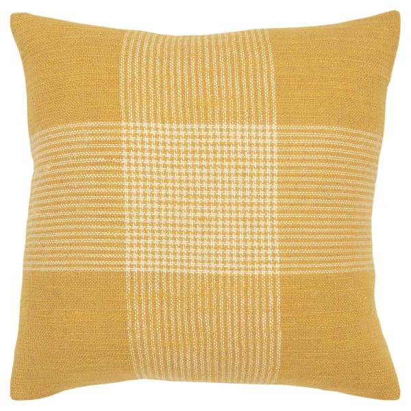 Plaid Woven Yellow/White Filled Pillow