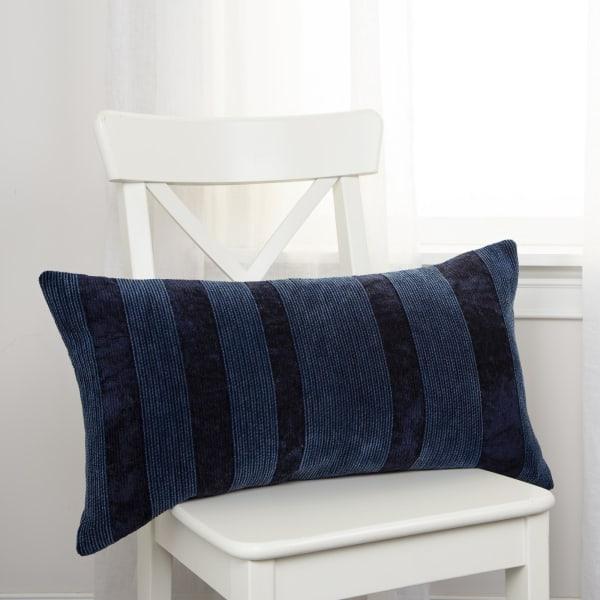 Solid Viscose Velvet Navy Poly Filled Pillow