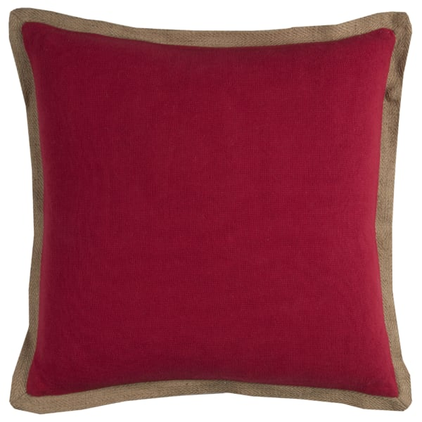 Solid With Jute Flange Red Poly Filled Pillow