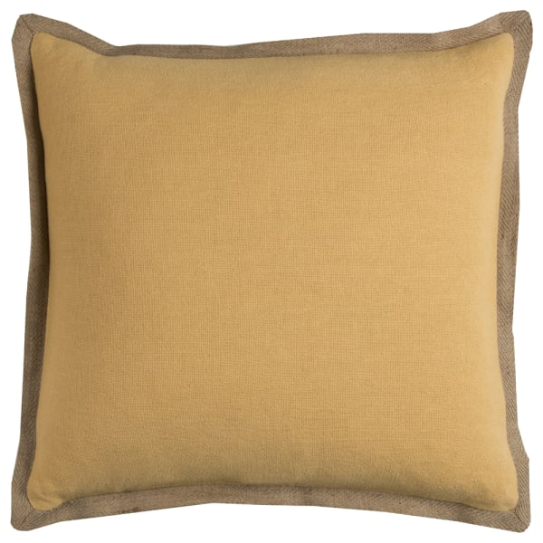 Solid With Jute Flange Yellow Pillow Cover