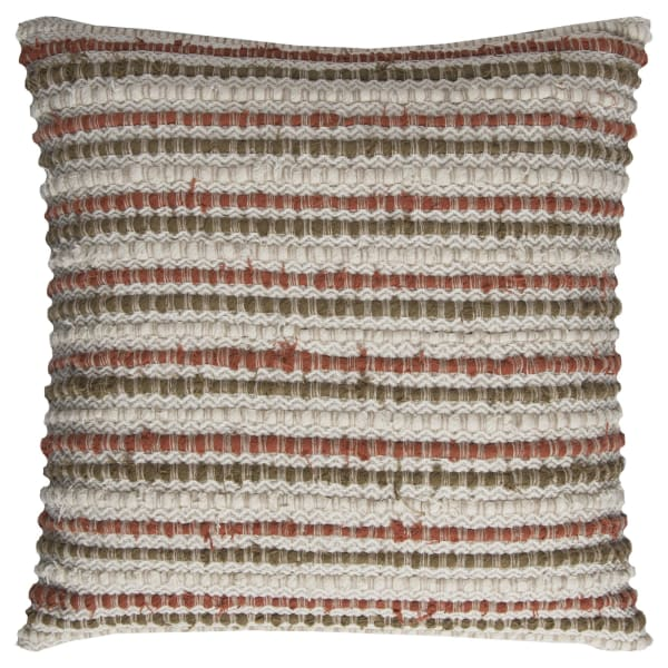 Stripe Rust Cotton Brown Natural Poly Filled Pillow