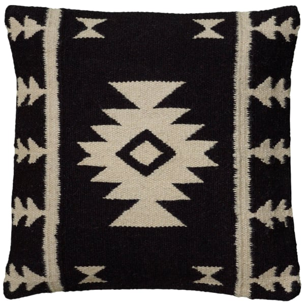 Stripes With Motif Accents Wool Black Poly Filled Pillow